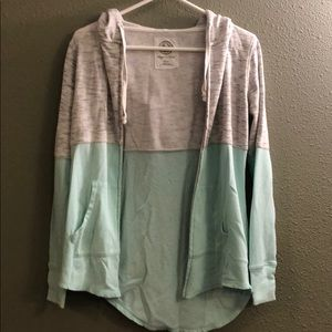 Two toned zip up hooded jacket